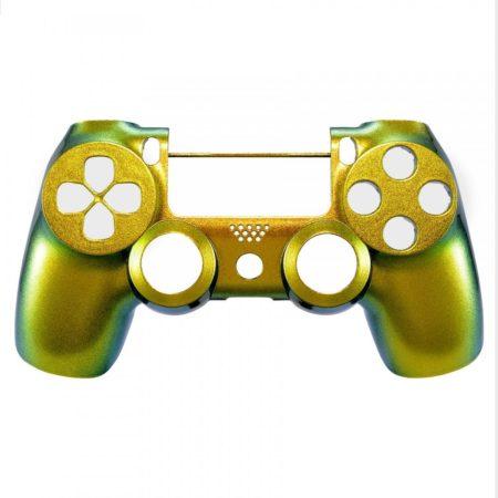 Oberschale kompatibel zu Playstation 4   PS4 Controller V2 (Pro & Slim / JDM-040) (Flip Flop gold-grün)